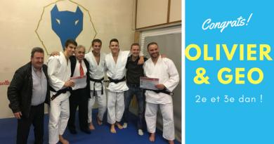 Examen de ceinture noire : réussite pour Geoffrey et Olivier